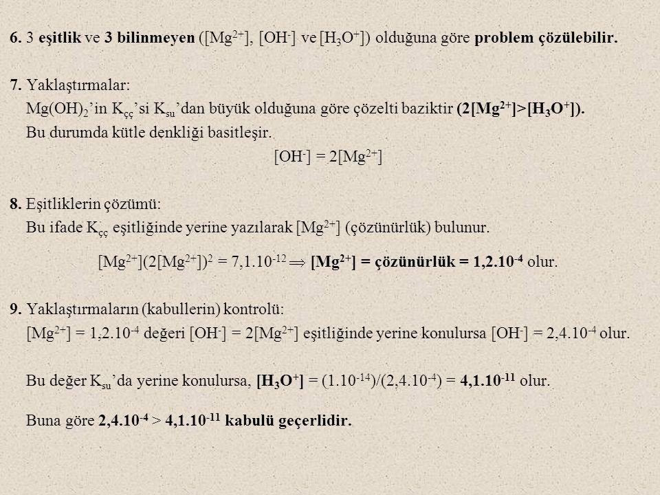 [Mg2+](2[Mg2+])2 = 7,1.10-12  [Mg2+] = çözünürlük = 1,2.10-4 olur.